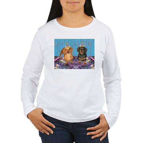 happy birthday dachshunds Long Sleeve T-Shirt