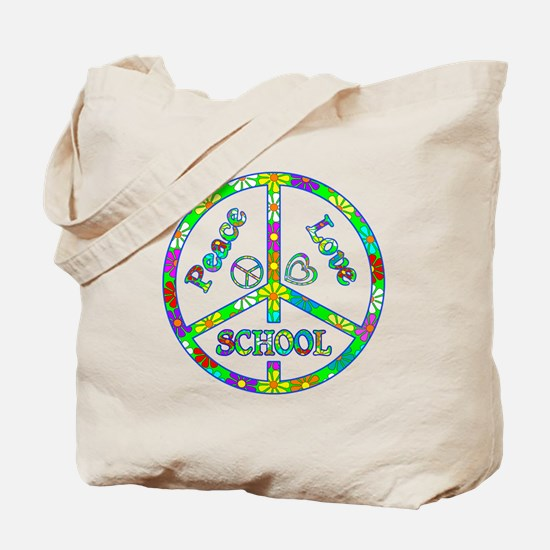 Peace Love School Tote Bag