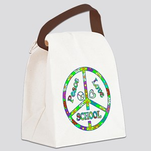 Peace Love School Canvas Lunch Bag