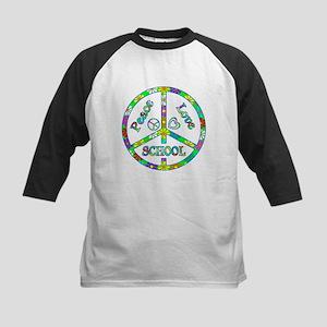 Peace Love School Kids Baseball Jersey