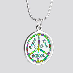 Peace Love School Silver Round Necklace