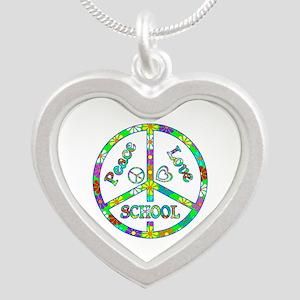 Peace Love School Silver Heart Necklace
