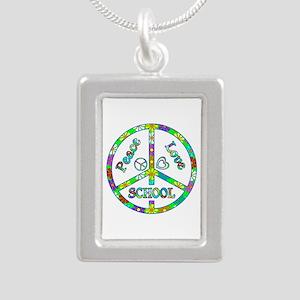 Peace Love School Silver Portrait Necklace