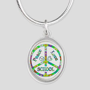 Peace Love School Silver Oval Necklace