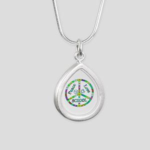 Peace Love School Silver Teardrop Necklace