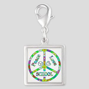 Peace Love School Silver Square Charm