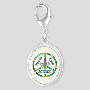 Peace Love School Silver Oval Charm