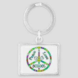 Peace Love School Landscape Keychain