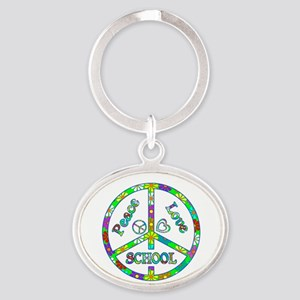 Peace Love School Oval Keychain