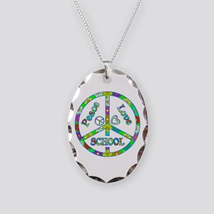 Peace Love School Necklace Oval Charm