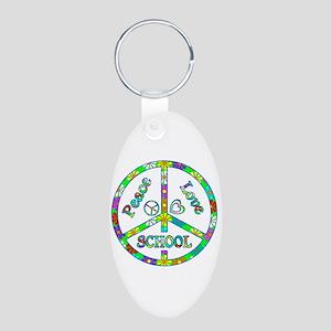 Peace Love School Aluminum Oval Keychain