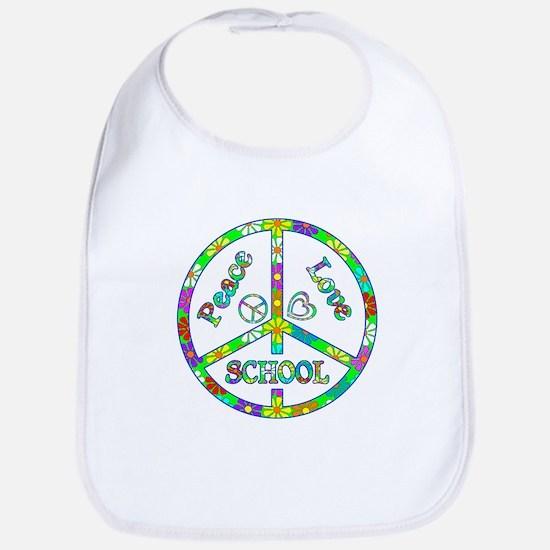 Peace Love School Bib