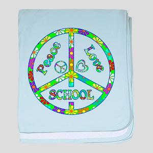 Peace Love School baby blanket