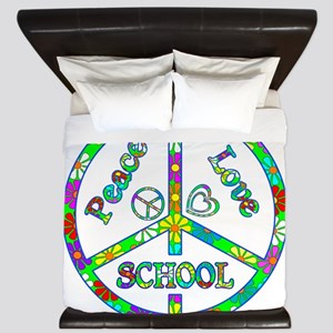 Peace Love School King Duvet
