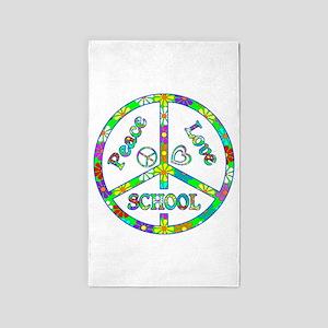 Peace Love School 3'x5' Area Rug