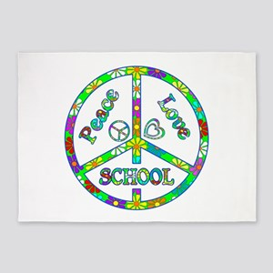 Peace Love School 5'x7'Area Rug
