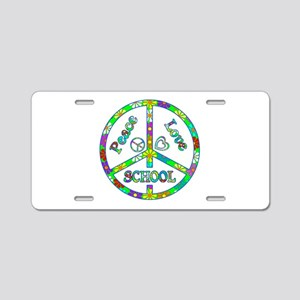 Peace Love School Aluminum License Plate