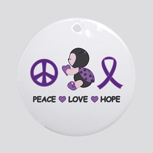 Ladybug Peace Love Hope Ornament (Round)
