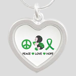 Ladybug Peace Love Hope Silver Heart Necklace