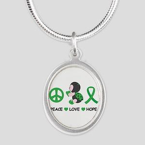 Ladybug Peace Love Hope Silver Oval Necklace