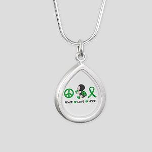 Ladybug Peace Love Hope Silver Teardrop Necklace