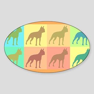 Boston Terrier Mod Art Oval Sticker