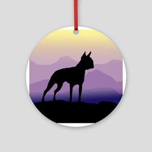boston terrier dog purple mts. Ornament (Round)