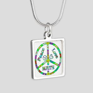 Peace Love Math Silver Square Necklace