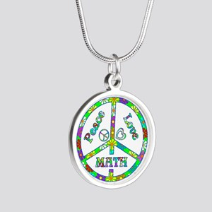 Peace Love Math Silver Round Necklace