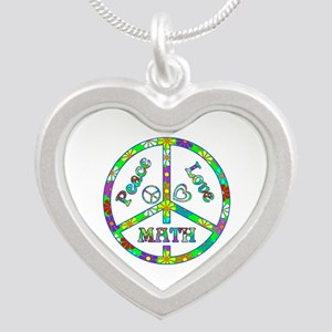 Peace Love Math Silver Heart Necklace
