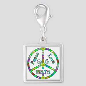 Peace Love Math Silver Square Charm