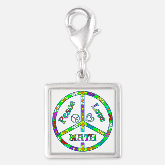 Peace Love Math Silver Square Charm