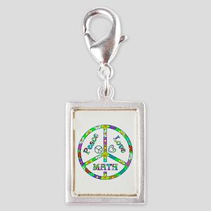 Peace Love Math Silver Portrait Charm