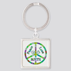 Peace Love Math Square Keychain