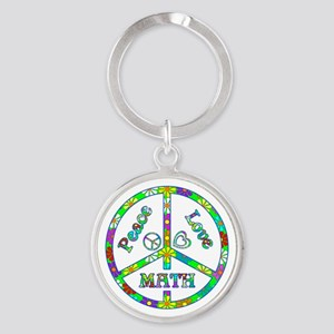 Peace Love Math Round Keychain
