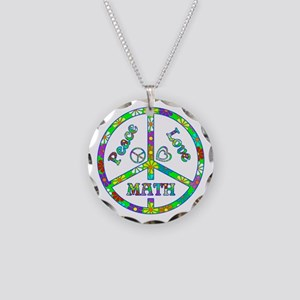 Peace Love Math Necklace Circle Charm