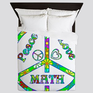 Peace Love Math Queen Duvet
