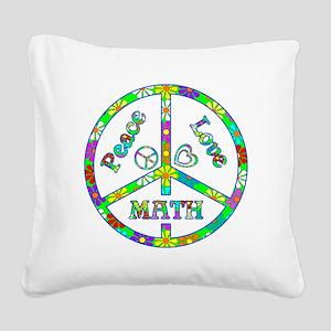 Peace Love Math Square Canvas Pillow