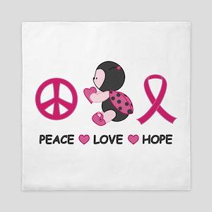 Ladybug Peace Love Hope Queen Duvet