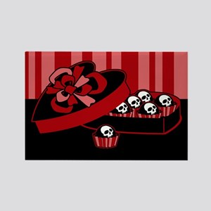 Skull Valentine Candy Rectangle Magnet