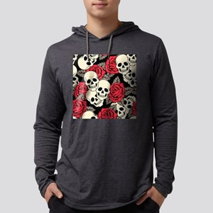 Flowers and Skulls Mens Hooded Shirt