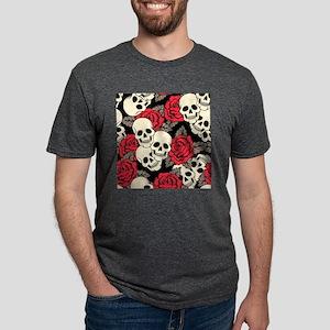 Flowers and Skulls Mens Tri-blend T-Shirt