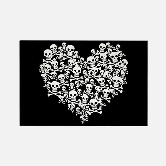 Skull Heart Rectangle Magnet