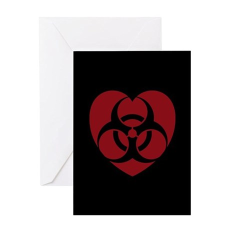 Red Biohazard Heart Greeting Card