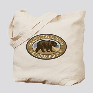Grand Teton Brown Bear Badge Tote Bag