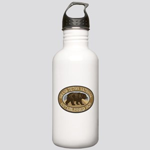 Grand Teton Brown Bear Badge Stainless Water Bottl