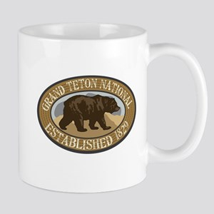 Grand Teton Brown Bear Badge Mug