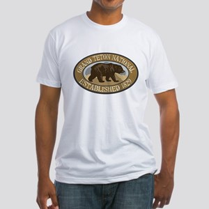Grand Teton Brown Bear Badge Fitted T-Shirt