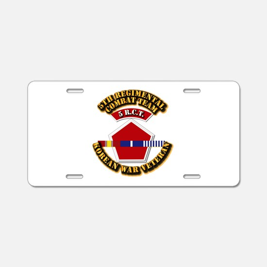 Army - 5th RCT - w Korean Svc Aluminum License Pla