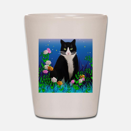 Tuxedo Cat with Flowers Shot Glass